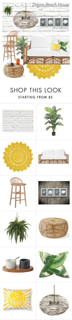 """""""Contest 39 - Dream Beach House🏝🏠"""" by nicolepazp on Polyvore featuring interior, interiors, interior design, hogar, home decor, interior decorating, Brewster Home Fashions, Nearly Natural, Serena & Lily y Pillowfort"""