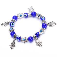 Vintage Charms Turquoise Glass Bracelet Bohemia Hamsa Hand Evil Eye Blue Crystal Bead Bracelets Women Fine Jewelry Pulseras G043