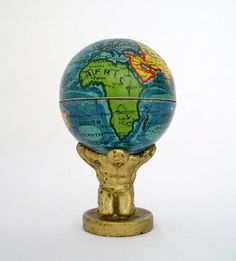 1920's World Globe Held by Atlas - Pencil Sharpener - Made in Germany