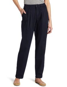 Lee Womens Relaxed Fit Side Elastic Pleated Pant Navy 14 >>> More info could be found at the image url.