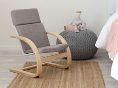 Mocka Kids Armchair - Grey with Piper Rug and Crochet Pouffe Kids Armchair, Grey Armchair, Modern Armchair, Modern Chairs, Modern Kids Furniture, Kids Bedroom Furniture, Affordable Furniture, Kids Table And Chairs, Kid Table