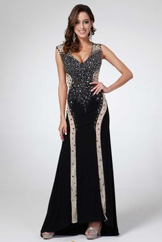 Evening Dress CDC2453. Full Length, Sheath Shape Evening Gown, V Neckline Sleeveless, Fully Beaded Top, Double Color Decorated Skirt, Zipper Back Closure. https://www.smcfashion.com/wholesale-evening-dresses/evening-dress-cdc2453