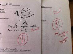 This teacher who rewarded an extraordinary drawing of a ninja. Biology Teacher, Teacher Memes, Teacher Hacks, Teacher Stuff, Stupid Funny, Hilarious, Funny Images, Funny Pictures, Funniest Pictures