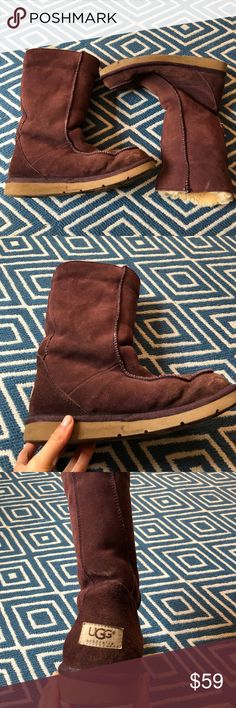 Women's Ugg Boots Women's Ugg Boots. Size 7. So so warm and cozy! Purple eggplant color. Some discoloration on the front of boot. UGG Shoes Winter & Rain Boots