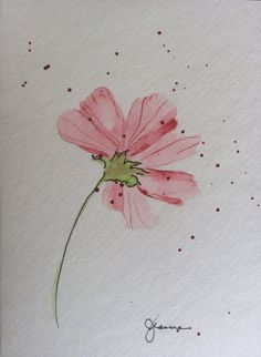 This delicate flower will surely charm anyone. Hand painted on 140lb Strathmore card with watercolor and ink  Includes envelope  Shipped in sturdy flat envelope for safe delivery to your home.