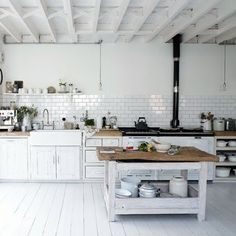 Country Decor - Cool Rustic Kitchen article - painted furniture, floorboards and ideas to get country - Read More here - http://decoratedlife.com/country-decor-cool-country-kitchen/