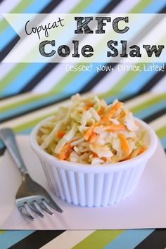 Copycat KFC Coleslaw - sweet, crunchy coleslaw with a slight tang.  The longer it sits in the fridge the better it gets!  You are going to love this copycat version from www.dessertnowdinnerlater.com