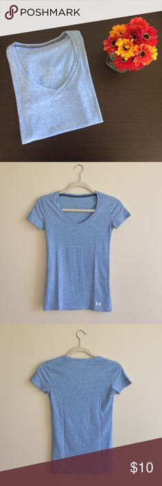 Under Armour Charged Blue Tee Under Armour light blue Charged v-neck tee. Very soft. V-neck hits around upper chest area. Under Armour Tops Tees - Short Sleeve