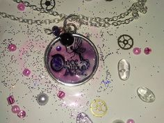 Silver Fairy Tale Pendant Pink Once Upon a Time with Beads