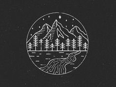 The last summer me and my other half traveled to France to walk Tour mont blanc. It was the most amazing trip in France, Switzerland and Italy. Graphic Design Illustration, Illustration Art, Circle Drawing, Forest Drawing, Handpoke Tattoo, The Last Summer, Geometric Mountain, Forest Tattoos, Forest Mountain