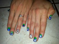 My nails for 8-23-13 game. Go Hawks! Win
