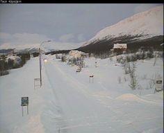 Kilpisjärvi lumipeitteessään keskiviikkona 4. joulukuuta. Kuva: Liikennekamera/Liikennevirasto
