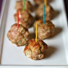 Spicy Turkey Meatballs (139 cal/3 meatballs):      3 lbs (lean) ground turkey (optional, lean ground chicken),  1 cup of whole wheat bread, cubed,  3 eggs, beaten,  2 tsp salt,  1 tsp paprika,  ½ tsp cayenne pepper,  4 Tbsp fresh sage, chopped,   ¾ cup onion, chopped,  2 garlic cloves, minced,  ¾ cup fresh parsley, chopped,  2/3 cup parmesan cheese.