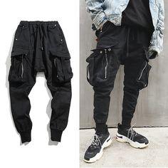 91591a43060 Hip Hop Big Pocket Harem Pants Men Black Cotton Joggers Men Streetwear  Casual Slim Sweatpants Male