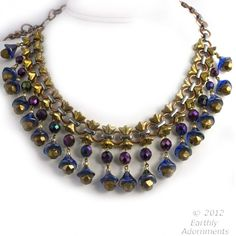 nlbg2023(e)-Vintage and contemporary  Czech glass beaded fringe Egyptian revival style necklace