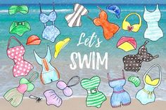 Watercolor Swimsuits Set by Anastasiia Macaluso on @creativemarket