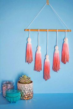 Pink DIY Room Decor Ideas - DIY Ombre Wall Tassels - Cool Pink Bedroom Crafts and Projects for Teens, Girls, Teenagers and Adults - Best Wall Art Ideas, Room Decorating Project Tutorials, Rugs, Lighting and Lamps, Bed Decor and Pillows http://diyprojectsforteens.com/diy-bedroom-ideas-pink