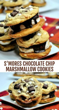 S'mores Sandwich Chocolate Chip Marshmallow Cookies S'mores Sandwich These delicious Chocolate Chip Marshmallow Cookies S'mores Sandwich are a crowd pleaser. A chewy chocolate chip marshmallow cookie with a toasted marshmallow center! Chocolate Chip Marshmallow Cookies, Toasted Marshmallow, Chocolate Ganache, Best Cookie Recipes, Best Dessert Recipes, Yummy Recipes, Desert Recipes, Holiday Recipes, Unique Desserts