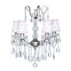 Pewter Four-Light Glass Center Crystal Mini Chandelier with White and Pink Petal Shades