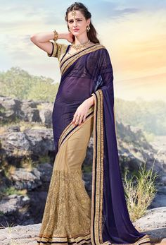 #Violet And Beige #Shimmer And #Net #Half And #Half #Saree #nikvik  #usa #designer #australia #canada #brocadesaree
