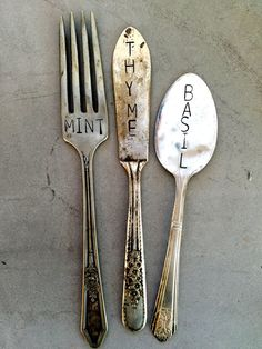 Garden Marker Set, Stamped Silver, Earth Day, Mothers Day Gift, Gardener Gift, Herb Marker Set, Large Font, Stamped Silverware  These vintage,