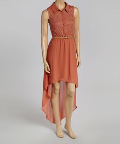 Another great find on #zulily! Rust Eyelet Hi-Low Dress #zulilyfinds
