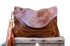 NEW////Chocolate Brown Leather Clutch with Handle by arebycdesign, $54.00