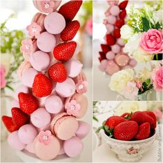 Bubble and Sweet: How to make a macaron, marshmallow and strawberry tower