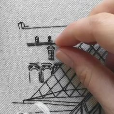 Architectural Embroidery, FREE PATTERN - - This free embroidery pattern is inspired by Rue Galande in Paris. It's the perfect creative project for the regular stitcher or beginner of hand embroidery. Hand Embroidery Patterns Free, Hand Embroidery Art, Christmas Embroidery Patterns, Blackwork Embroidery, Embroidery Flowers Pattern, Simple Embroidery, Vintage Embroidery, Beginner Embroidery, Embroidery Stitches