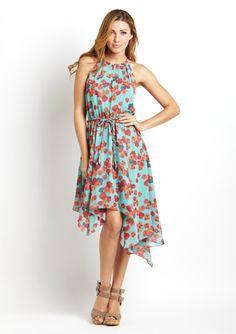 JESSICA SIMPSON Asymmetrical Hem Halter Dress