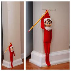 Looks like Eli discovered our growth chart. #elfontheshelf #elfontheshelf2015 #eots #elisantics