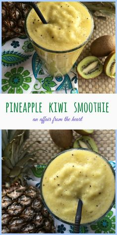 Pineapple Kiwi Smoothie | anaffairfromtheheart.com Refreshingly tangy smoothie full of fresh pineapple and kiwi!  Would make a great tropical cocktail blended with some coconut rum!