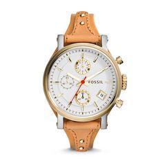Montre Original Boyfriend chronographe en cuir - Beige // 139€
