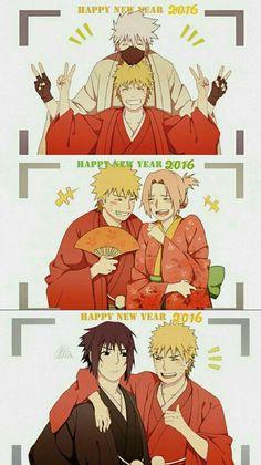 Happy New Yearn 2016, text, Naruto, Kakashi, Sakura, Sasuke, Team 7, kimono; Naruto
