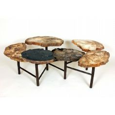 Good Form Petrified Wood multi-tiered cocktail table with hand forged steel base [FM134RUST]
