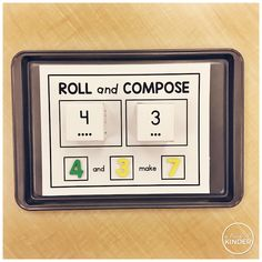 A Pinch of Kinder: Roll & Compose Math Centre. A math center to practice composing numbers for Kindergarten! Numbers Kindergarten, Math Numbers, Decomposing Numbers, Teaching Skills, Teaching Math, Maths, Teaching Ideas, Math Tubs, Math Classroom