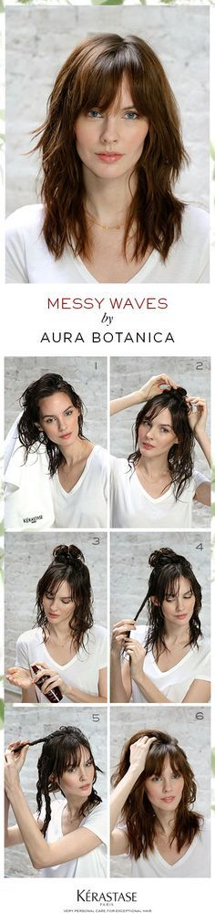 How-to create messy waves using Kerastase Aura Botanica: Scrunch hair with a towel to air dry. Section off the top section of hair and twist into a bun. Spray Essence d'Eclat moisturizing oil mist onto your hands, emulsify & apply onto mid-lengths by twisting 2-inch triangular sections. Take down the top section of hair in bun and continue twisting irregular sections away from your face. Allow hair to air dry and flip hair back to your regular part for perfectly undone, messy waves.