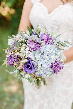 Bride's Pretty Bouquet: Blue Hydrangea, Purple Lisianthus, Violet Stock, Blue Veronica, White Gypsophila (Baby's Breath), Greenery/Foliage