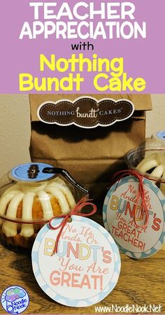 Cute and simple DIY teacher appreciation with FREE Nothing Bundt Cake Labels. Perfect Teacher Appreciation gift with 4 different labels you can get free to help you make an easy gift for teacher appreciation with Nothing Bundt Cake! Teacher Appreciation Gifts, Teacher Gifts, Volunteer Appreciation, Teacher Presents, Diy Holiday Gifts, Diy Gifts, Teacher Cakes, Teacher Gift Baskets, Get Well Gifts