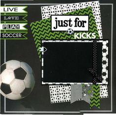 Layout was created using coordinating printed paper, cardstock, chipboard alphabet, ribbon, Live, Love, Play, Soccer banners, mini round brad, photo anchor, and soccer ball brad.  Ribbon and photo anchor are attached in a manner so that you can easily slip your photo underneath.  This 12x12 scrapbook page is handmade and ready for your scrapbook...just add photo! Not a scrapper? Add a photograph and frame this artwork for wall decor or a unique gift.  Layout was handmade by Susan Hubbs, a…