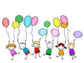 Счастливые дети с воздушными шарами — стоковый вектор #69321905