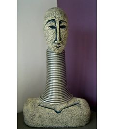 Ceramic Sculpture bald young with bust sculpture with long neck
