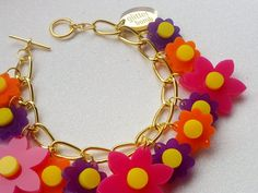 Acrylic Charm Bracelet SPRING FLOWERS Laser Cut by GlitterbombUK, £18.00