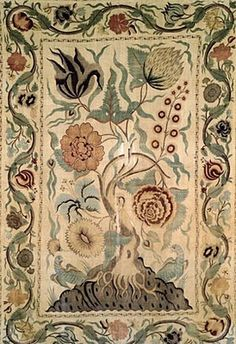 Palampores. Hand-painted or printed panels of fabric often with the tree of life motif. Came from India.