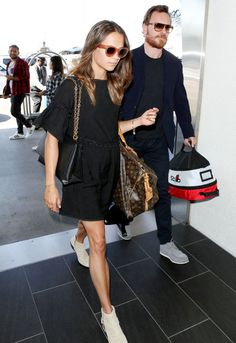 Alicia Vikander and Michael Fassbender Color-Coordinated Their Travel Outfits