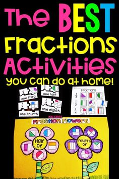 Best way to teach fractions in such fun ways! You can do these at home or in a classroom to help kids learn fractions and all the concepts that go along with them! So many great ideas. Teaching Fractions, Maths, Multiplication, 8th Grade Math, First Grade, Math Fraction Games, Math Games, Framed Words, Math Graphic Organizers
