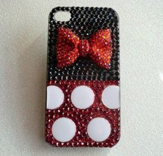 Custom iPhone 4 4S Snap on Minnie Mouse Inspired Bling Case.
