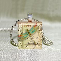 Scrabble Necklace  Jewelry  Dragonfly on by MaDGreenCreations, $7.49