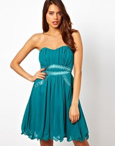 Asos - £17 Little Mistress Bandeau Evening Dress With Embellished Waist (only in size 12)