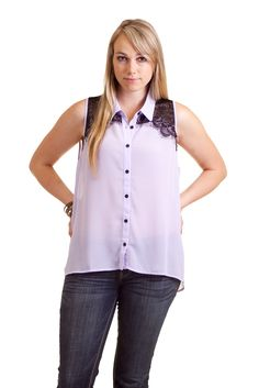 Dazly Women's Contrast Lace Chiffon High-Low Top Blouse Plus Size Lavender XL at Amazon Women's Clothing store: